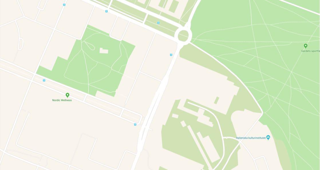 Bild på en karta från google maps i grön och beige färg
